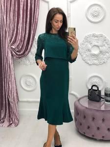 Платье короткое с рукавом 3/4 классическое Ф6402