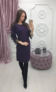 Платье короткое с рукавом 3/4 однотонное Ф6405