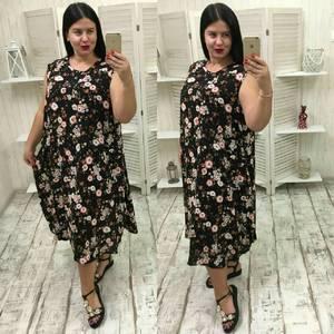 Платье длинное с коротким рукавом с принтом Ф1471
