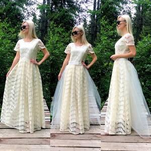 Платье длинное бежевое нарядное Т9576