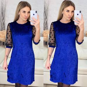 Платье короткое с рукавом 3/4 синее Х1008
