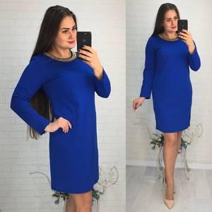 Платье короткое вечернее синее Ф2894