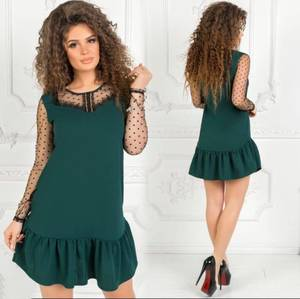 Платье короткое нарядное однотонное Ф7500