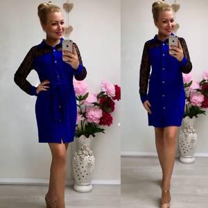 Платье короткое повседневное синее Ф0502