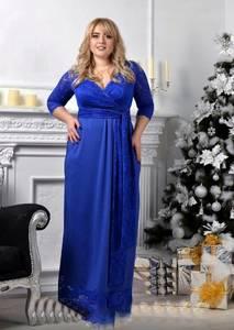 Платье длинное синее нарядное Х0529