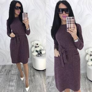 Платье короткое с длинным рукавом зимнее Ф8294