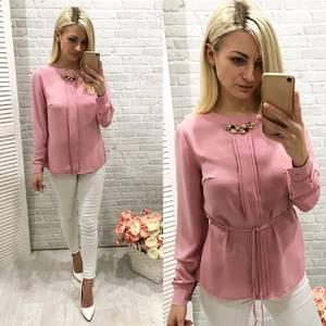 Блуза для офиса розовая Ф0774