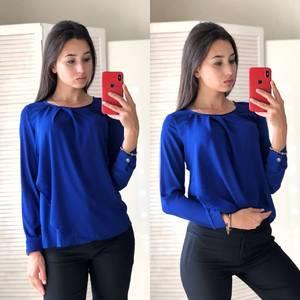 Блуза летняя синяя Ф2802