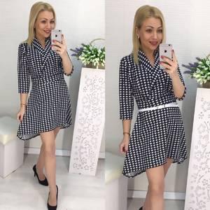 Платье короткое с рукавом 3/4 с принтом Х5359