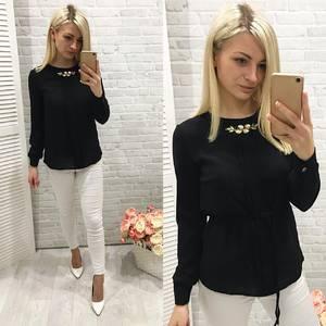 Блуза для офиса черная Ф0775