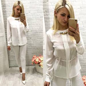 Блуза для офиса белая Ф0776