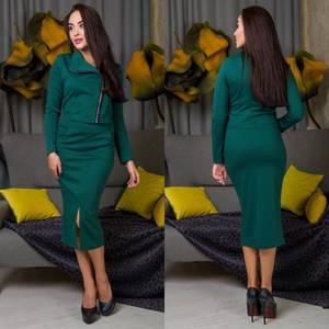 Костюм модный c юбкой зеленый Ф6819
