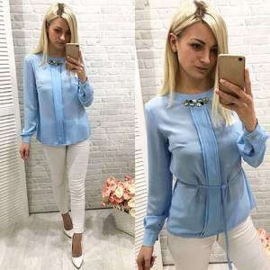 Блуза для офиса голубая Ф0777