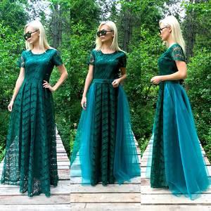 Платье длинное однотонное нарядное Т9577