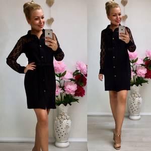 Платье короткое повседневное черное Ф0500