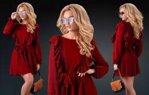 Платье короткое с длинным рукавом красное Х0515