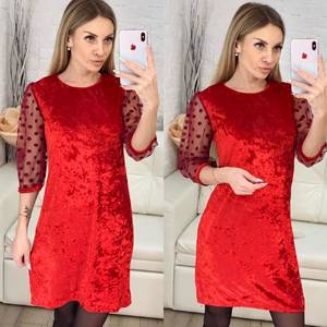 Платье короткое с рукавом 3/4 красное Х1007