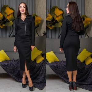 Костюм модный c юбкой черный Ф6818