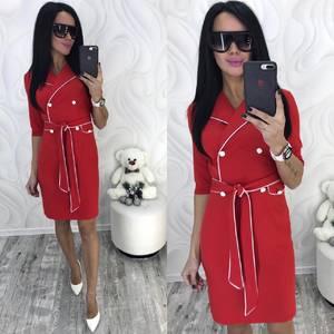 Платье короткое с рукавом 3/4 красное Ф8713