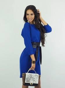 Платье короткое с рукавом 3/4 синее Ф8935