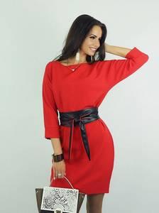 Платье короткое с рукавом 3/4 красное Ф8934