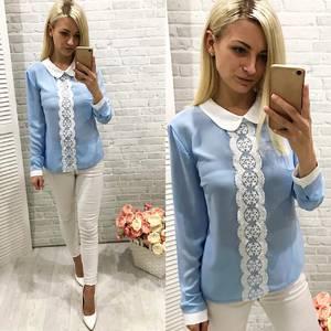 Блуза голубая с длинным рукавом Ф0770