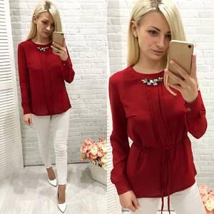 Блуза для офиса красная Ф0778