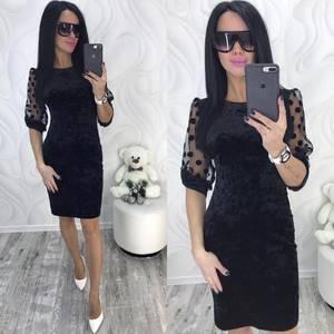 Платье короткое нарядное черное Ф8718