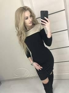 Платье короткое с рукавом 3/4 черное Ф8941