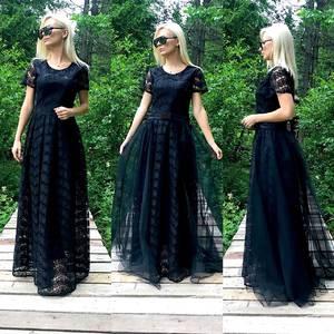 Платье длинное черное нарядное Т9578
