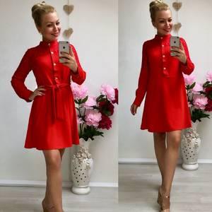 Платье короткое повседневное красное Ф0501