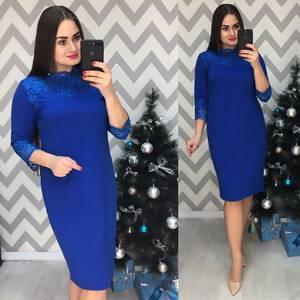 Платье короткое нарядное синее Ф7739