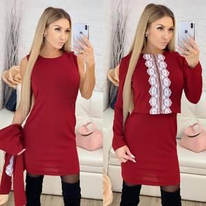 Платье Двойка короткое нарядное современное Ф9869