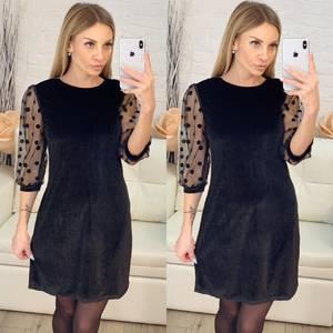 Платье короткое с рукавом 3/4 черное Х1006