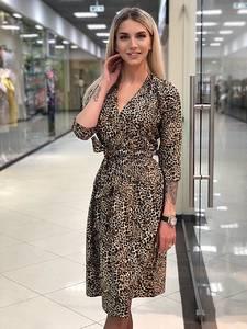 Платье короткое с рукавом 3/4 с принтом Х3583
