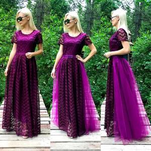 Платье длинное однотонное нарядное Т9579