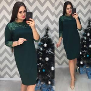 Платье короткое нарядное зеленое Ф7740