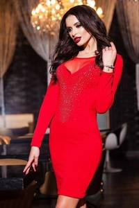Платье короткое вечернее красное Ф8221