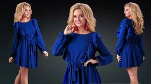 Платье короткое с длинным рукавом синее Х0513