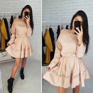 Платье короткое с длинным рукавом современное Х0539