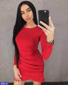 Платье короткое с длинным рукавом красное Х1240