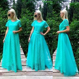 Платье длинное голубое нарядное Т9580