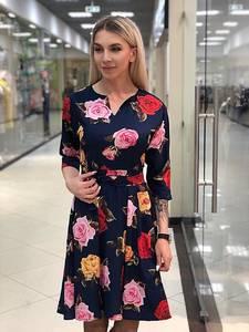 Платье короткое с рукавом 3/4 с принтом Х3577