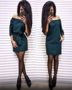Платье короткое с рукавом 3/4 однотонное Ц3577