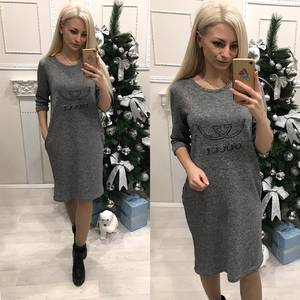 Платье короткое с рукавом 3/4 однотонное Ф7806