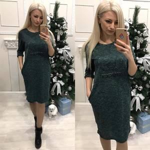 Платье короткое с рукавом 3/4 однотонное Ф7808