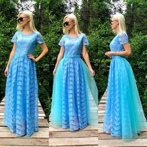 Платье длинное голубое нарядное Т9581