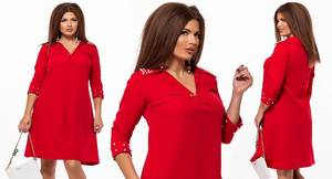 Платье короткое нарядное красное Ф7870