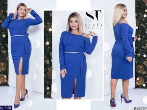 Платье короткое нарядное синее Ф8472