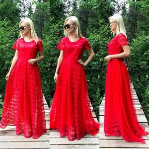 Платье длинное красное нарядное Т9582